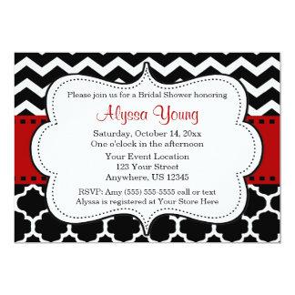 Red and Black Chevron Quatrefoil Invitation