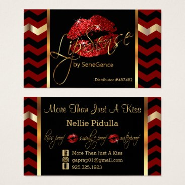 Professional Business Red and Black Chevron with Red Lips Business Card