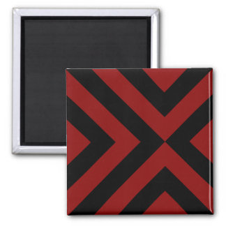 Red and Black Chevrons 2 Inch Square Magnet