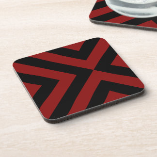 Red and Black Chevrons Beverage Coaster