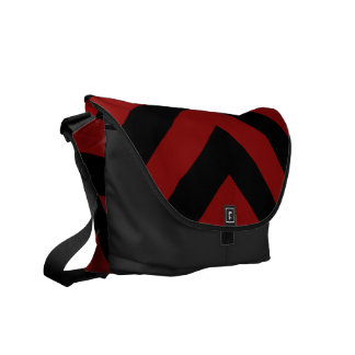 Red and Black Chevrons Courier Bag