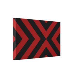 Red and Black Chevrons Gallery Wrapped Canvas