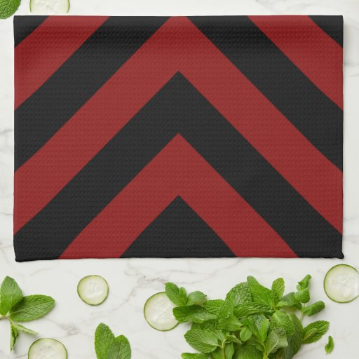 Red and Black Chevrons Hand Towel
