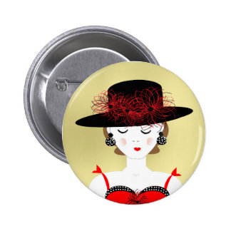 Red and Black Chic Fashion Lady Illustration Pins