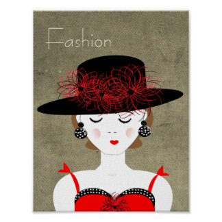 Red and Black Chic Fashion Lady Illustration Print