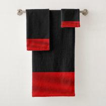Red and Black Christmas Bath Towel Set