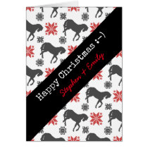 Red and Black Christmas Horse Card