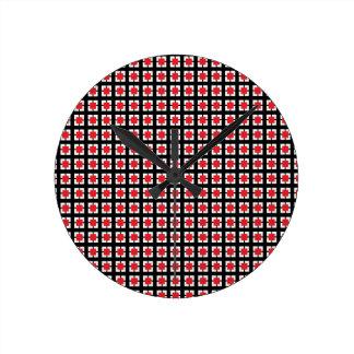 Red and Black Circle Plaid Pattern Ktichen Set Round Wall Clock