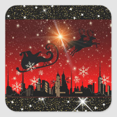 Red and Black City Christmas Sticker at Zazzle
