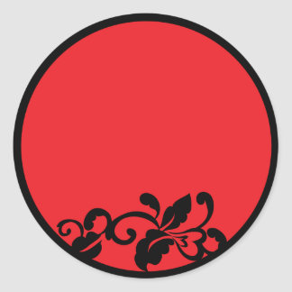 red and black classic round sticker