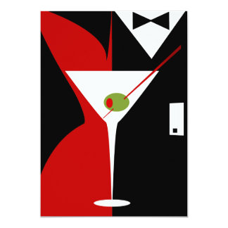 Red and Black Classy Martini Cocktail Card