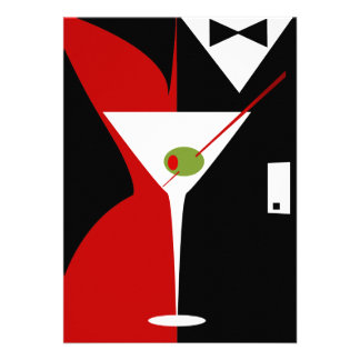 Red and Black Classy Martini Cocktail Personalized Announcements