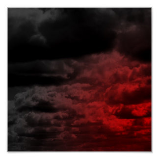 Red and Black Clouds Poster