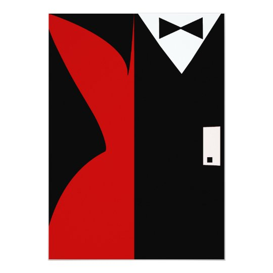 Red and Black Cocktail Dress Dinner Party Card