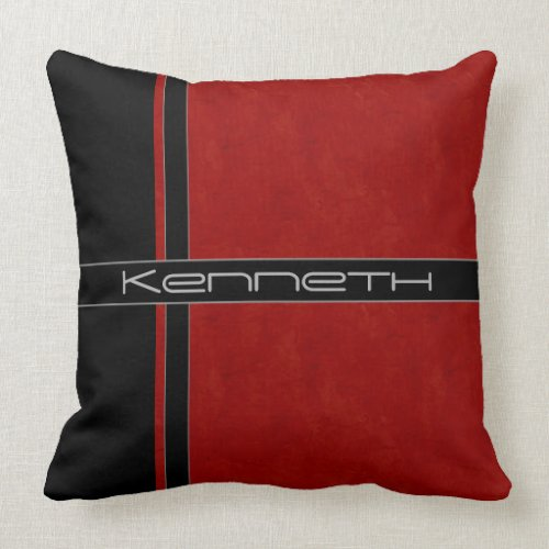 Red and Black Color Block Throw Pillow