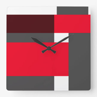 Red and black color blocks square wall clock