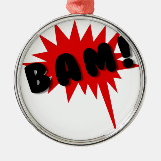 Red and black comics text and burst design BAM! Metal Ornament