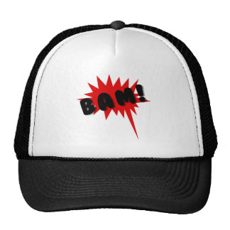 Red and black comics text and burst design BAM! Trucker Hat
