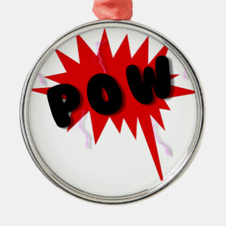 Red and black comics text and burst design POW Christmas Tree Ornaments