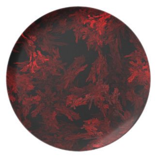 Red and Black Coral Fractal Flame Melamine Plate