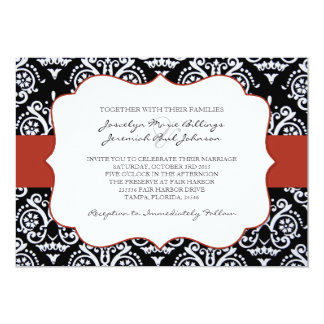 Red and Black Country Damask Patterned 5x7 Paper Invitation Card