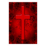 RED AND BLACK CROSS DESIGN POSTER