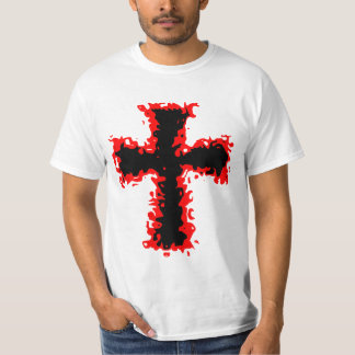 red and black cross mens t shirt