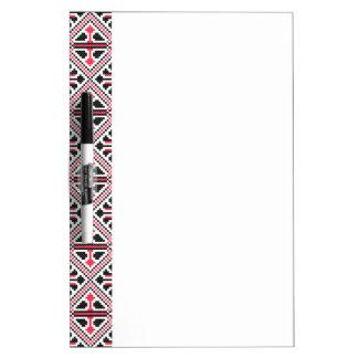 Red and Black cross-stitch Retro Pattern Dry-Erase Board