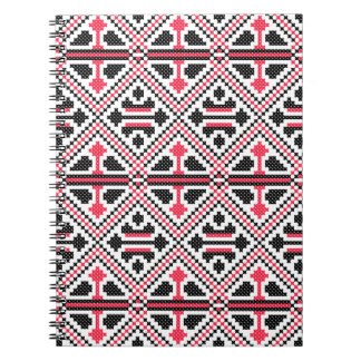Red and Black cross-stitch Retro Pattern Notebook