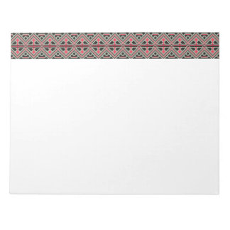 Red and Black cross-stitch Retro Pattern Notepad