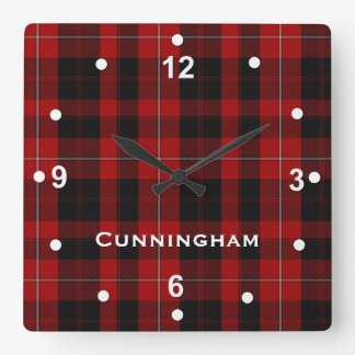 Red and Black Cunningham Tartan Plaid Clock