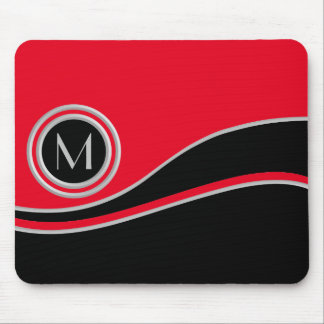 Red and Black Curves with Monogram Mouse Pad