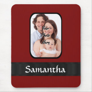 Red and black custom photo mouse pad