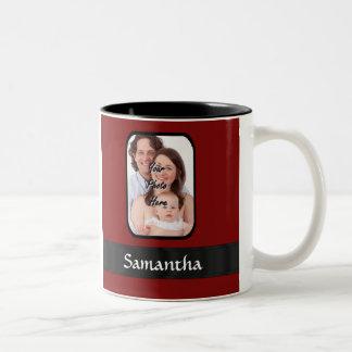 Red and black custom photo coffee mugs