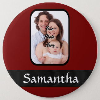Red and black custom photo pinback button