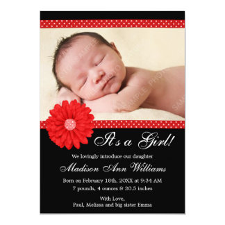 Red and Black Daisy Girl Photo Birth Announcement