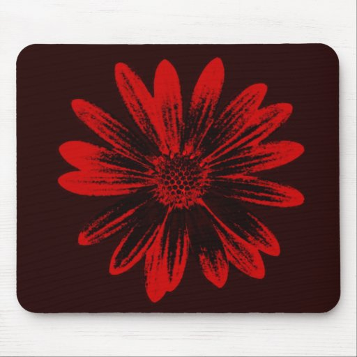 Red and Black Daisy Mousepad
