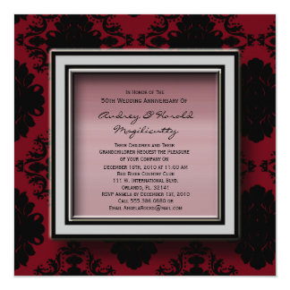 Red and Black Damask Anniversary Party Invitation