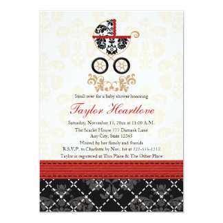 RED AND BLACK DAMASK BABY CARRIAGE BABY SHOWER 5X7 PAPER INVITATION CARD