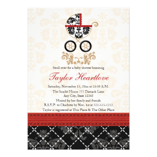 RED AND BLACK DAMASK BABY CARRIAGE BABY SHOWER CUSTOM INVITATIONS
