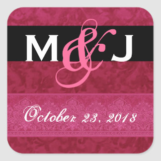 Red and Black Damask Bride and Groom Wedding Square Stickers
