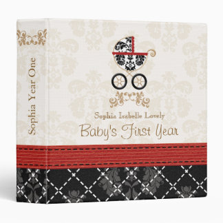 Red and Black DAMASK Carriage Baby Photo Album Binders