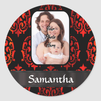Red and black damask classic round sticker