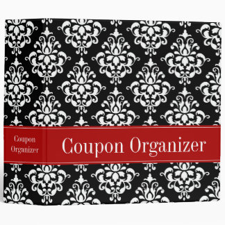 "Red and Black Damask Coupon Organizer 2"" Binder"