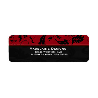 Red and Black Damask | Custom Business Label