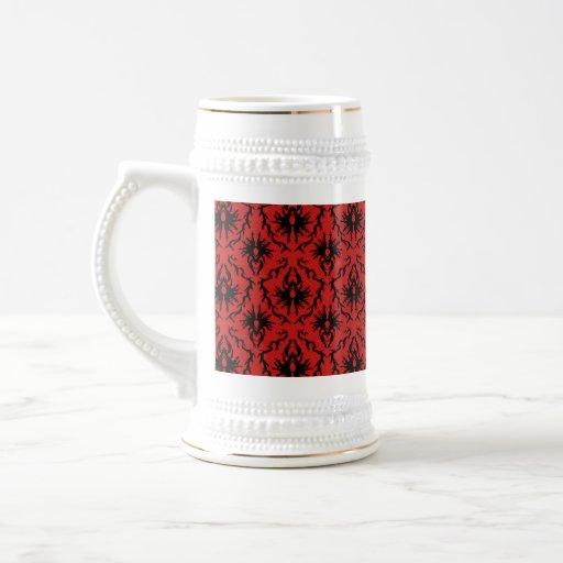 Red and Black Damask Design. 18 Oz Beer Stein