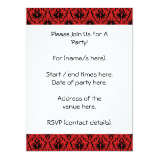 Red and Black Damask Design. Card