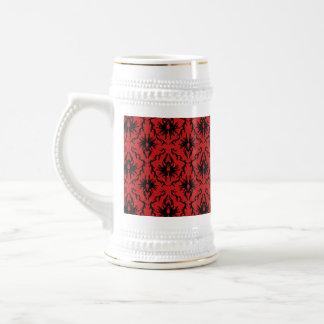 Red and Black Damask Design. Coffee Mugs