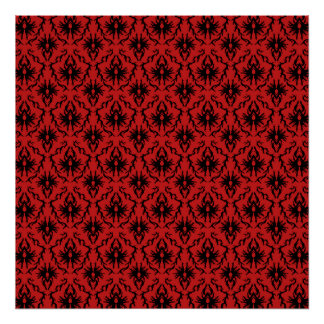 Red and Black Damask Design. Print