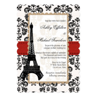 Red and Black Damask Eiffel Tower Wedding Invitation